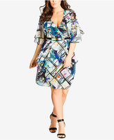 City Chic Trendy Plus Size Draped Faux-Wrap Dress