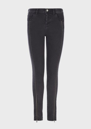 Emporio Armani J54 Worn-Wash, Skinny-Fit Denim Jeans With Oversized Zip