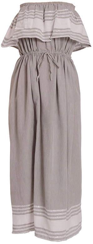 SUNDRESS Fouta Grey Kelly Off Shoulder Dress - M/L - Grey/White