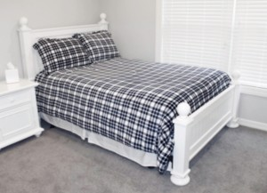 Thro White Peacoat Navy Classic Plaid Flannel Fleece 2 Piece Twin Comforter Set