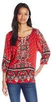 Angie Women's Red Printed Raglan Sleeve Top