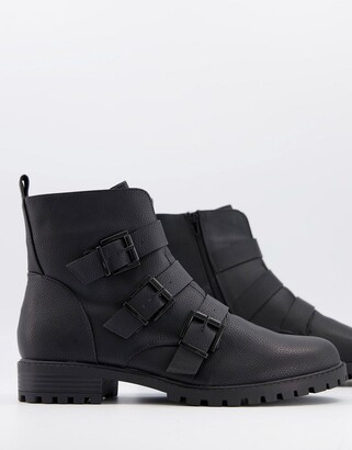 New Look 3 buckle biker boot in black