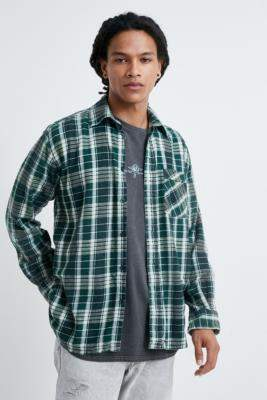 Urban Renewal Vintage Green Checked Flannel Shirt - green at Urban Outfitters