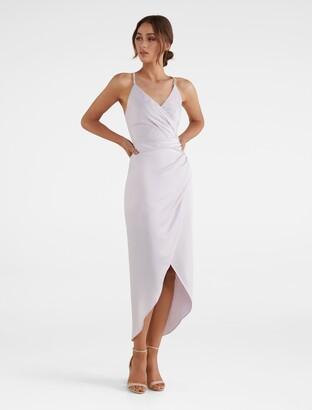 Forever New Tilly Satin Midi Dress - Lavender - 6