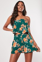 Missguided Teal Floral Layered Bandeau Playsuit