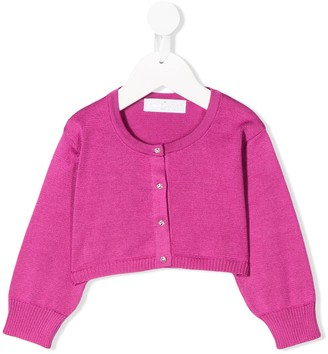 Colorichiari Cropped Embellished Button Cardigan