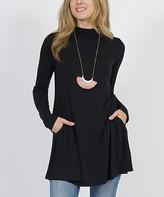 Lydiane Women's Tunics BLACK - Black Mock Neck Long-Sleeve Pocket Tunic - Women