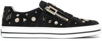 Roger Vivier Sneaky Viv Appliqued Suede Slip-on Sneakers