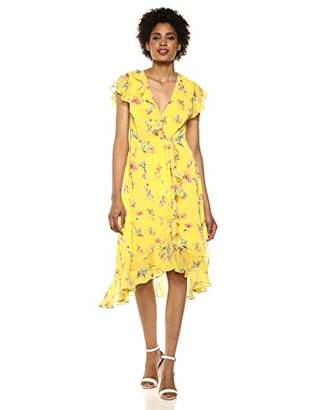 Adrianna Papell Women's Floral Wrap Dress with Flutter Sleeves