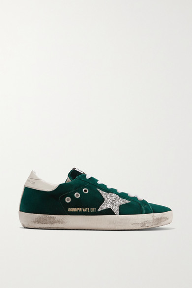 Golden Goose Superstar Glittered Velvet Sneakers - Emerald