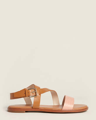 Cole Haan Pecan & Coral Findra Strappy Leather Sandals