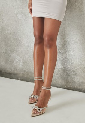 Missguided Nude Clear Diamante Bow Court Heels