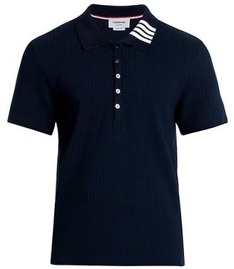 Thom Browne Short-Sleeve 4 Bar Ribbed Polo