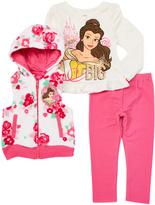 Children's Apparel Network Pink Disney Princess Belle Hooded Vest Set - Toddler & Girls