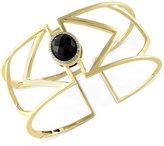 Effy Eclipse by Onyx (7-9/10 ct. t.w.) and Diamond (1/10 ct. t.w.) Geometric Cuff Bangle Bracelet in 14k Gold