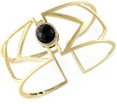 Effy Eclipse by Onyx (7-9/10 ct. t.w.) and Diamond (1/10 ct. t.w.) Openwork Geometric Bangle Bracelet in 14k Gold