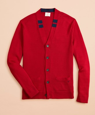 Brooks Brothers Tipped Cotton Cardigan Sweater