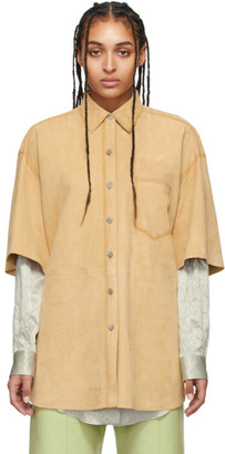 Acne Studios Beige Airbrushed Suede Shirt