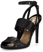 Cynthia Vincent Jigsaw Woven Leather Sandal, Black