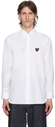 Comme des Garcons White and Black Heart Patch Shirt
