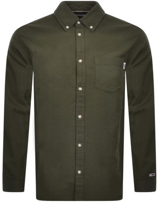 Tommy Jeans Oxford Long Sleeved Shirt Green