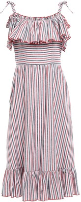 Gül Hürgel Cold-shoulder Ruffled Striped Cotton And Linen-blend Midi Dress