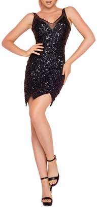 Mac Duggal M By Pixie-Cut Sequin Embellished Cocktail Dress