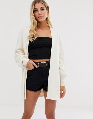 Asos Design DESIGN coatigan in fluffy yarn-Cream