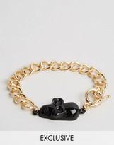 Reclaimed Vintage Skull Chain Bracelet In Gold