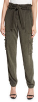 A.L.C. Lee Straight-Leg Belted Paperbag-Waist Pants, Army