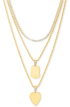"""Steve Madden Gold-Tone Crystal Heart Layered Pendant Necklace, 16"""" + 3"""" extender"""