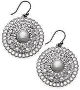 Lucky Brand Silver-Tone Imitation Pearl Openwork Drop Earrings
