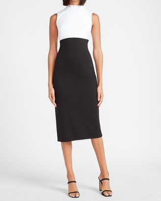 Express Color Block Sleeveless Mock Neck Sheath Dress