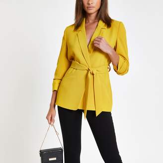 River Island Womens Yellow ruched sleeve belted blazer