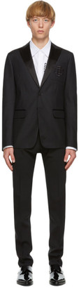 DSQUARED2 Black Wool and Silk Logo Blazer