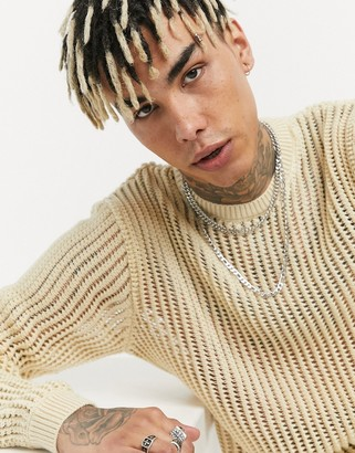 ASOS DESIGN knitted mesh sweater in oatmeal