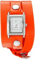 La Mer Women's 'La Mer Collections Women's Neon Orange Silver Triple Wrap Watch' Quartz Orange Leather Casual Watch (Model: LMSTWGMA14014)