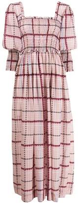 Ganni check ruched maxi dress