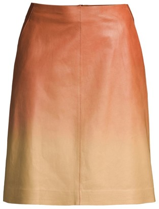 Lafayette 148 New York Whitley Ombre Leather A-Line Skirt
