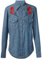 DSQUARED2 embroidered rose denim shirt - men - Cotton/Linen/Flax/Lyocell/Viscose - 46