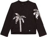 Ikks Black Sequin Palm Tree Sweater
