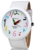 2013newestseller White Fashion Women Ladies Girls Quartz Bracelet Leather Wrist Watch