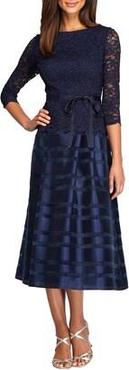Alex Evenings Mixed Media Fit & Flare Dress