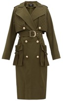 Balmain Quilted-panel Cotton-twill Trench Coat - Womens - Khaki