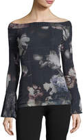 Fuzzi Bell-Sleeve Off-the-Shoulder Menswear Floral Tee