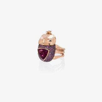 Daniela Villegas 18K rose gold medium rhino beetle sapphire ring