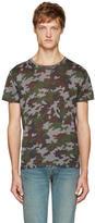 Saint Laurent Green Camouflage T-Shirt
