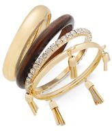 Thalia Sodi Gold-Tone 4-Pc. Set Wood, Crystal & Tassel Bangle Bracelets, Created for Macy's