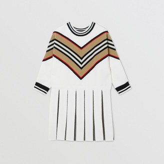 Burberry Childrens Long-sleeve Icon Stripe Panel Wool Blend Dress