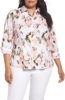 Foxcroft Plus Size Women's Brooke Floral Ikat Button Up Tunic